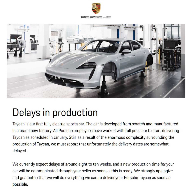 Porsche Taycan Delayed