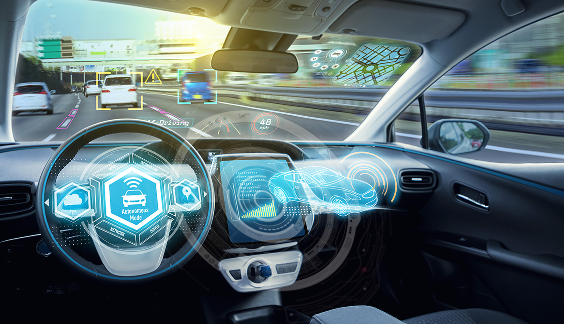 Empty Cockpit Of Autonomous Car, Hud(head Up Display) And Digital Speedometer. Self Driving Vehicle.