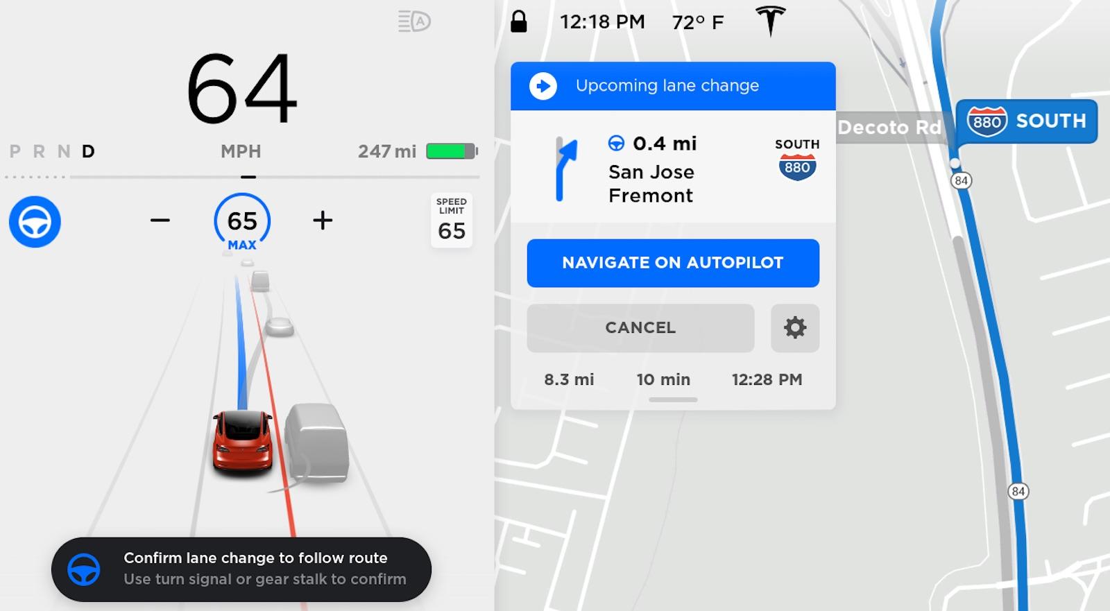 Tesla Navigate Autopilot Lane Change