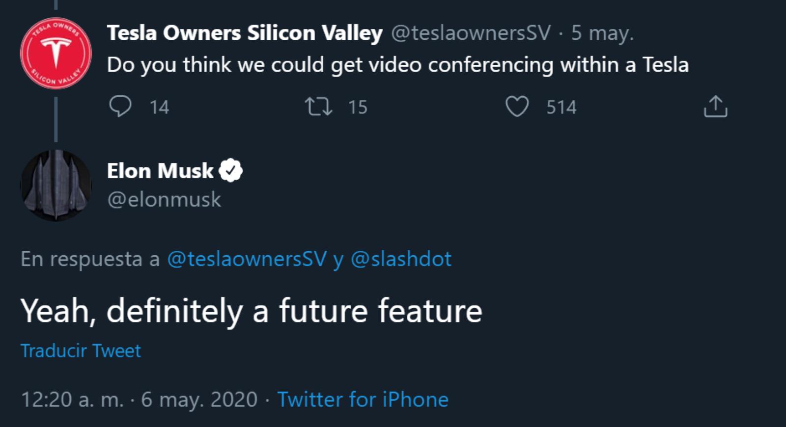 Tesla Twitter Elon Videollamadas