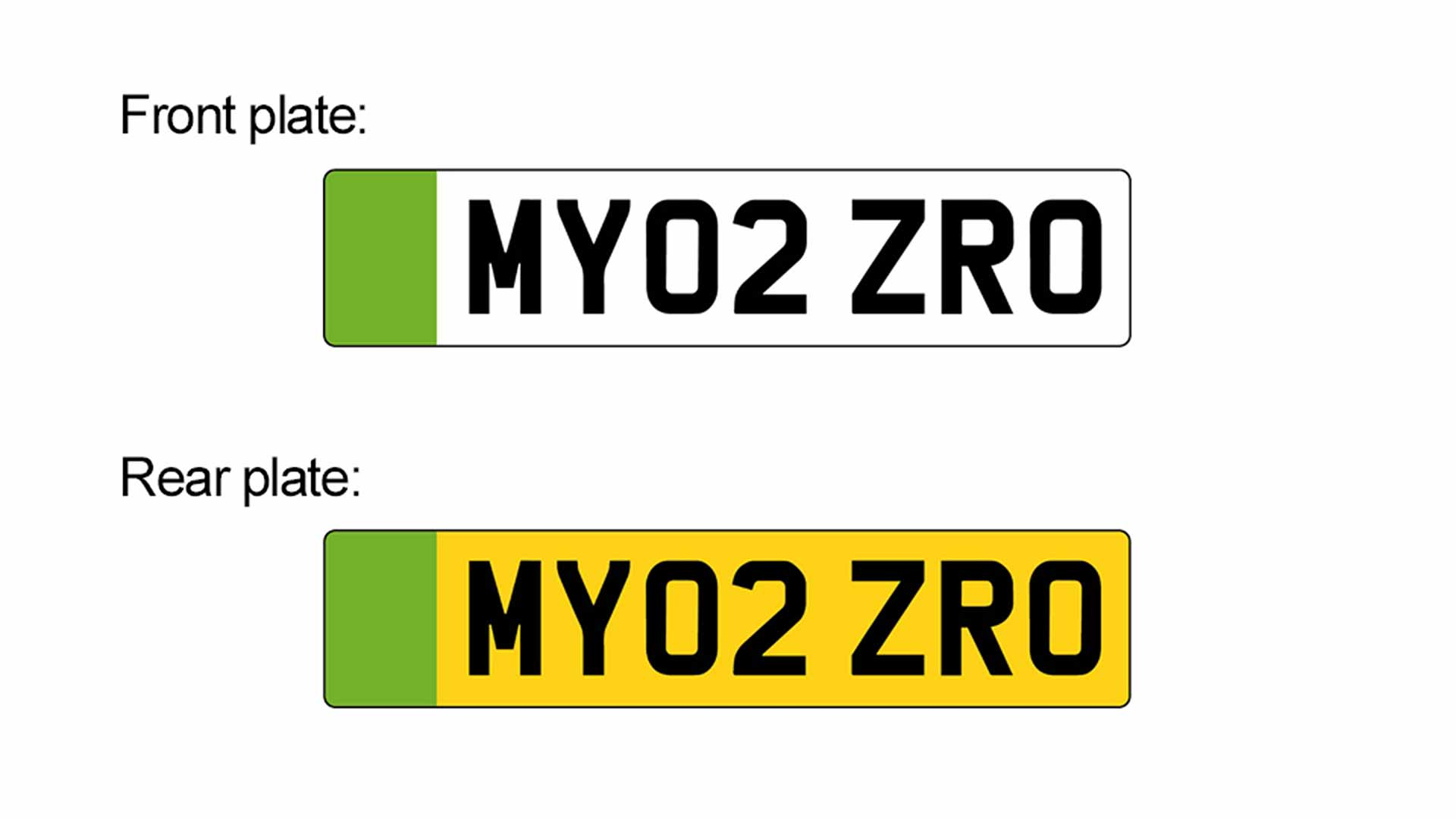 960 Green Front And Rear Number Plates