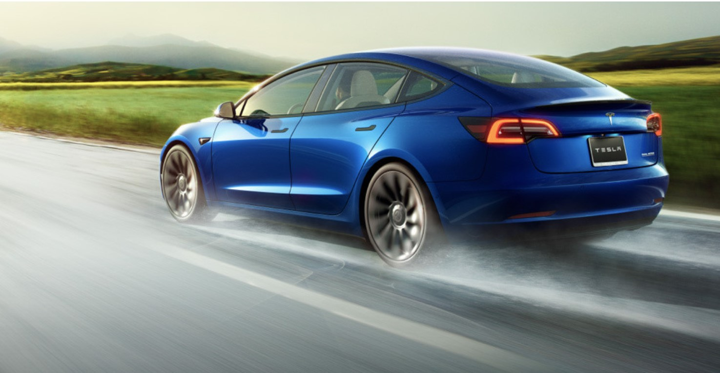 Tesla Model 3 2021 Blue Road