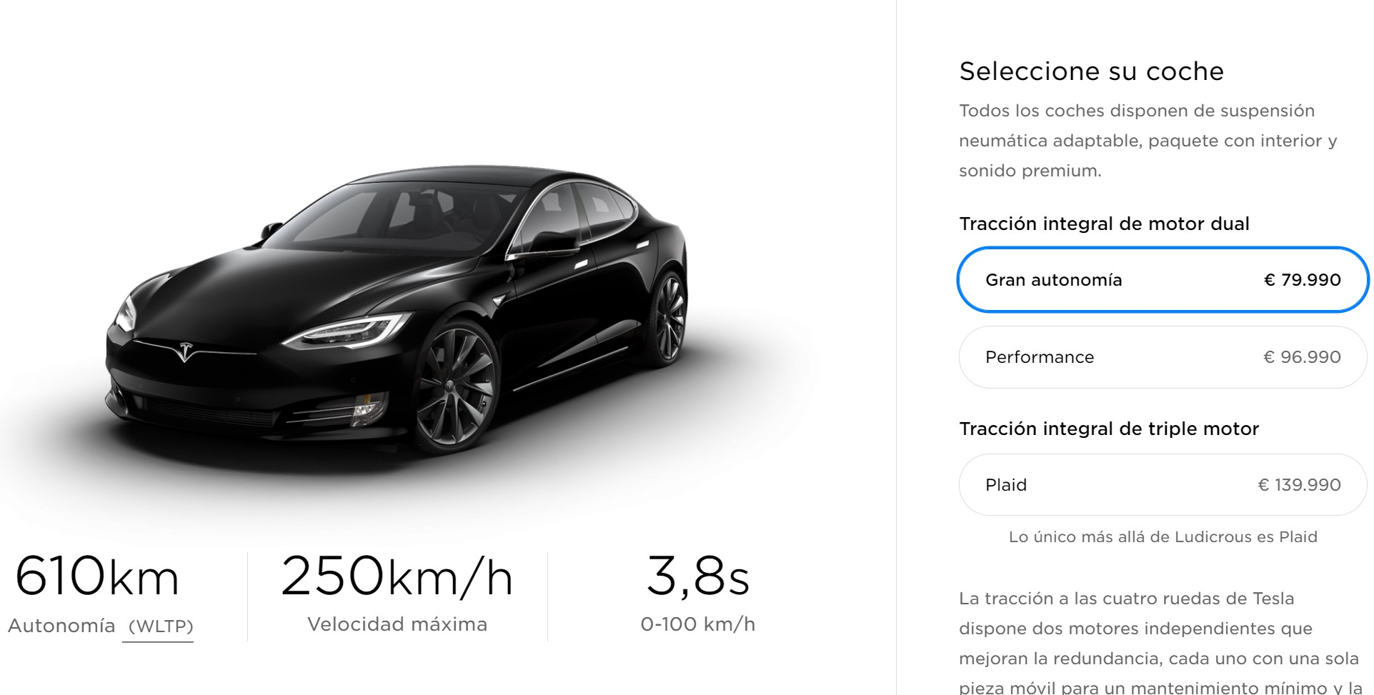 Tesla Model S Gran Autonomia Octubre 2020