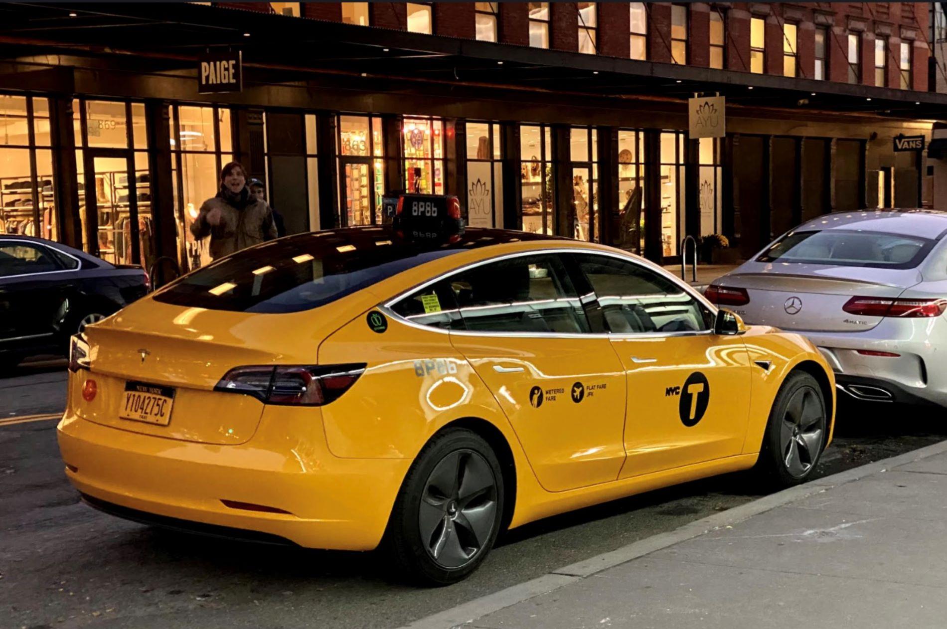 Tesla Model 3 Taxi New York Back
