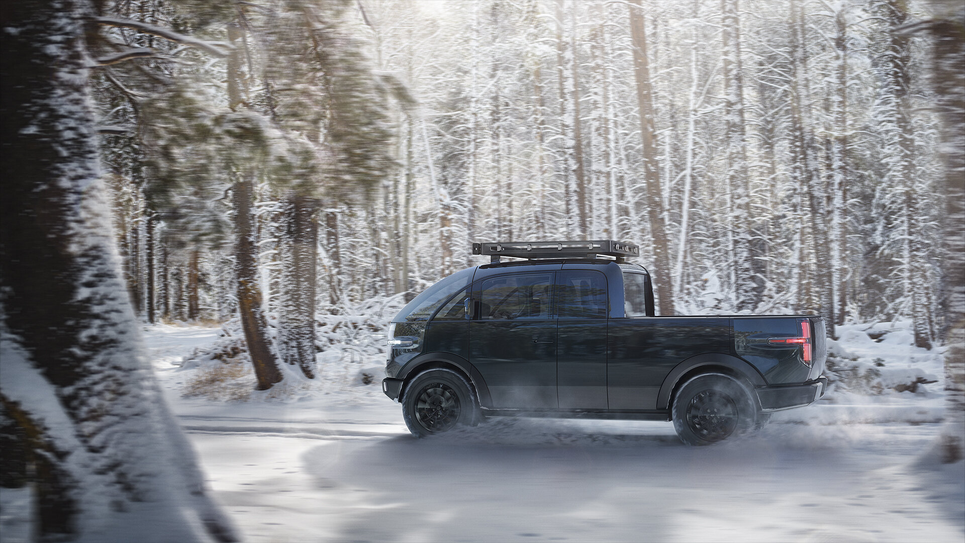 Canoo Pickup Side Snow
