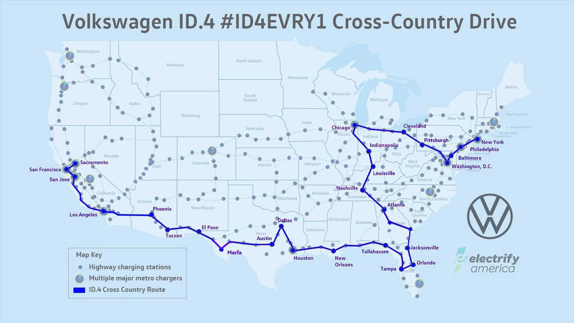 Volkswagen Id4 mapa Estados Unidos