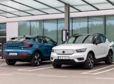 Pure Electric Volvo C40 And Xc40 Recharge At A Charging Station