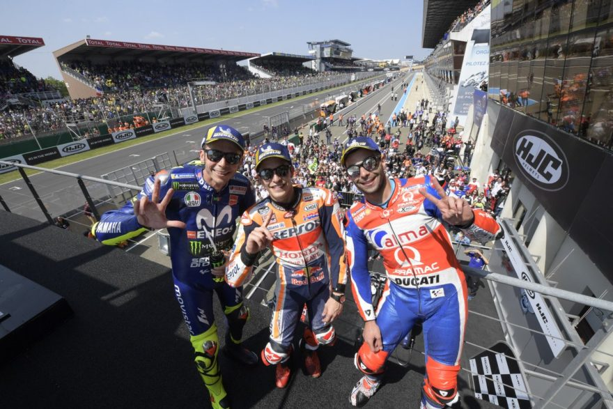 El podio de MotoGP en el GP de Francia 2018, con Márquez al frente