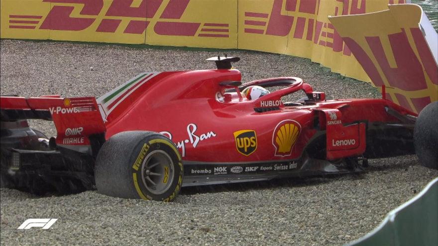 Accidente de Vettel en el GP de Alemania 2018