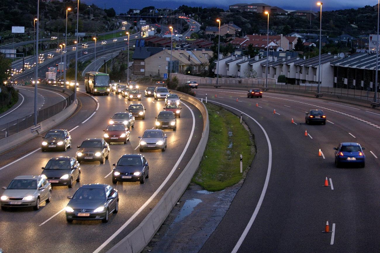 Carril Adicional Carretera Conducir Noche Luces