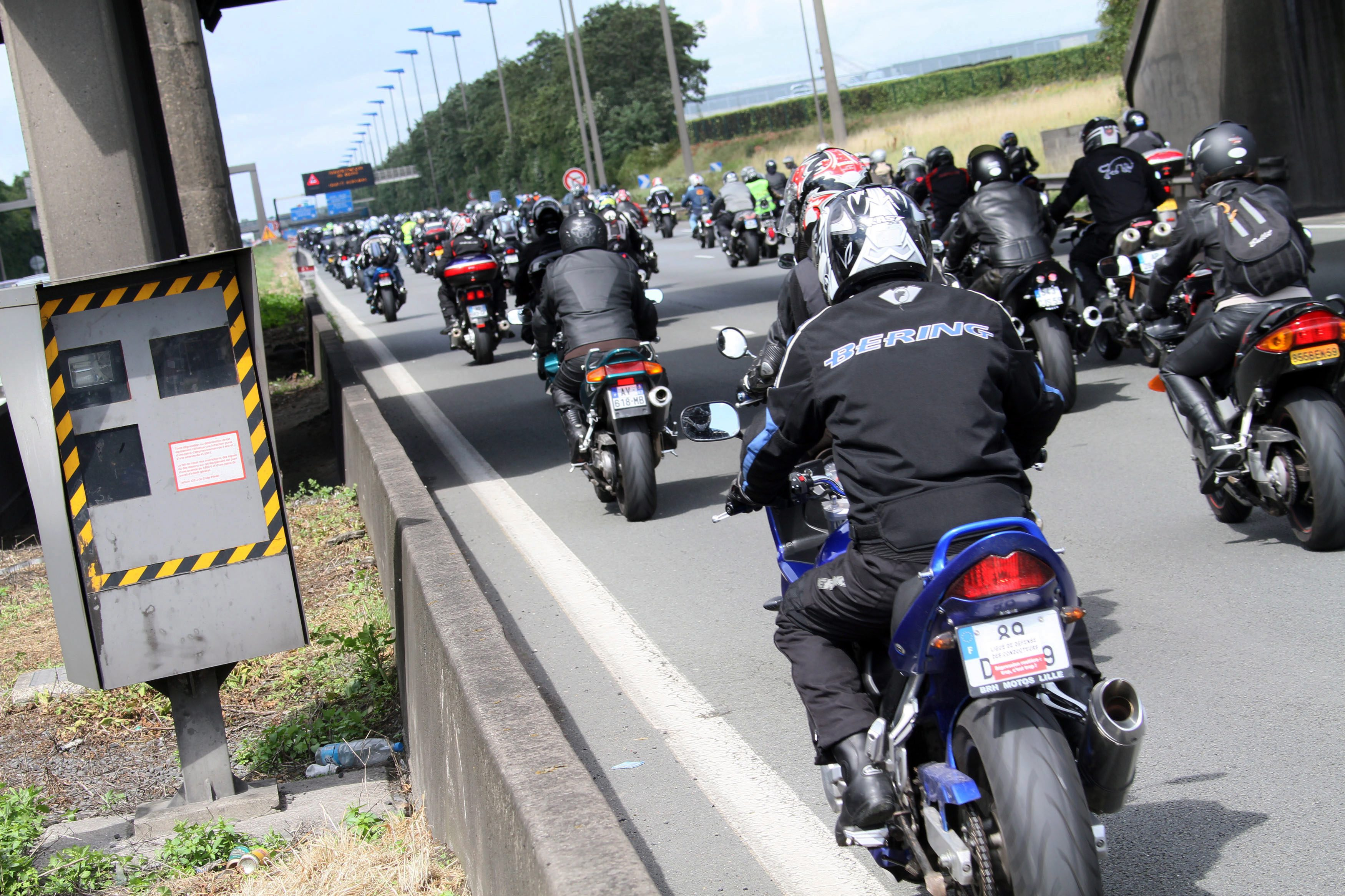 French Motocyclists And Drivers Associations Demonstrate Against New French Government Road Traffic Legislation