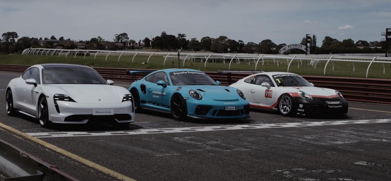 Vídeo: el Porsche Taycan se enfrenta a los Porsche 911 GT3 RS y 911 GT3 CUP